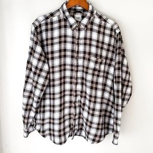 Chaps L/S Brown Flannel Button Up | XXL
